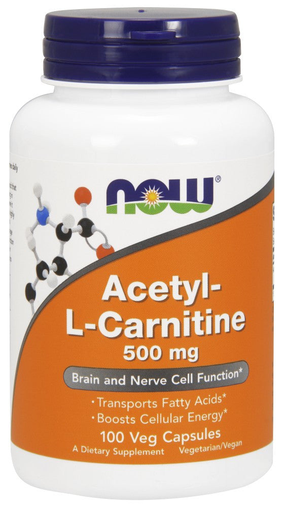 NOW Acetyl-L Carnitine 500 mg - 100 Vegetarian Capsules
