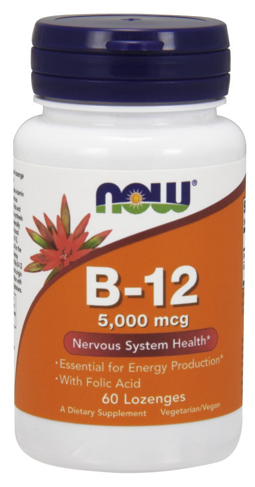NOW Vitamin B-12 5000mcg - 60 Lozenges