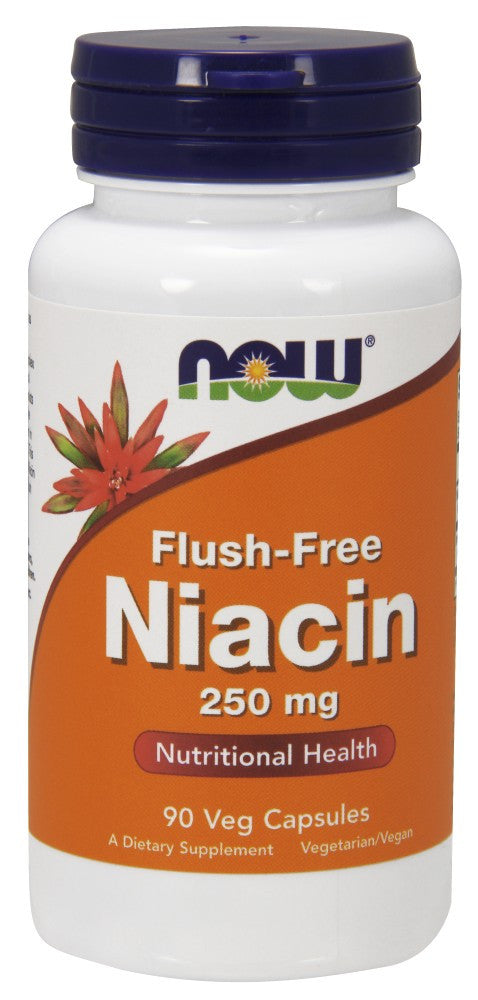 NOW Flush-Free Niacin - 250 mg - 90 Vegetarian Capsules