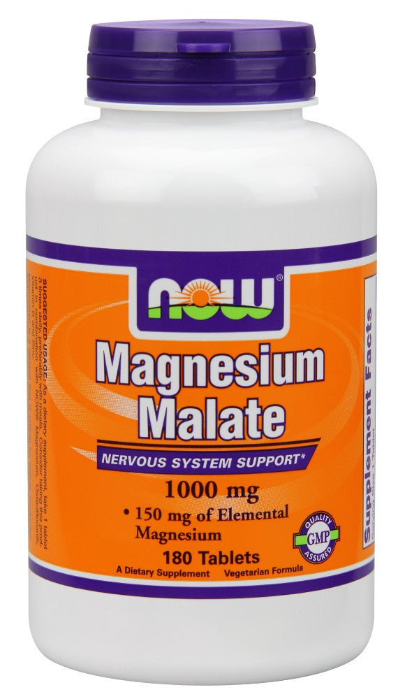 NOW Magnesium Malate 1000 mg Vegetarian - 180 Tablets