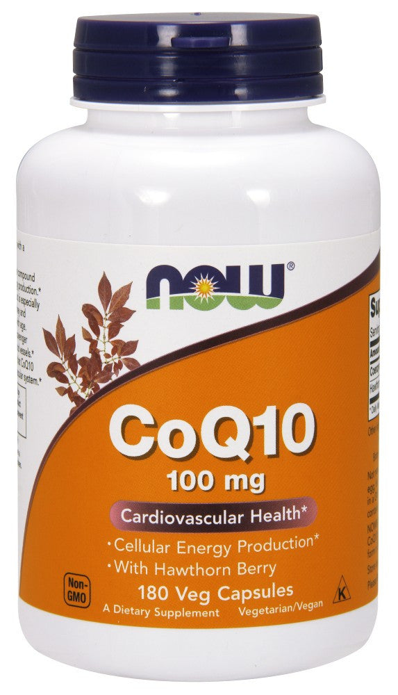 NOW CoQ10 100 mg with Hawthorn Berry Vegetarian - 180 Vegetarian Capsules