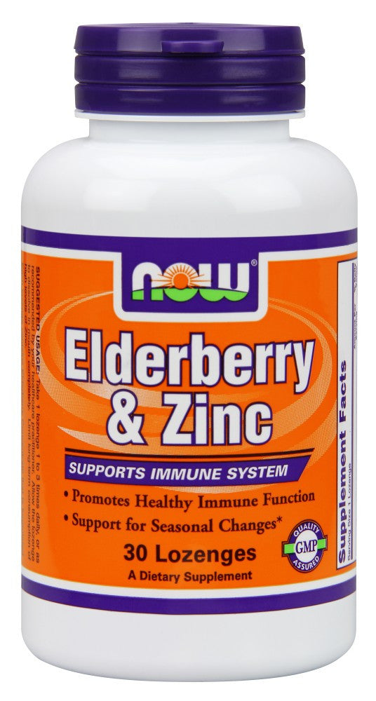 NOW Elderberry & Zinc - 30 Lozenges