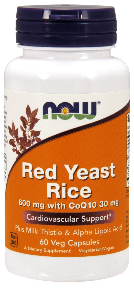 NOW Red Yeast Rice 600 mg with CoQ10 30 mg - 60 Vegetarian Capsules