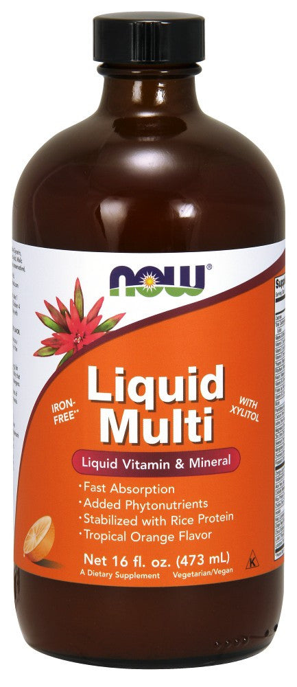 NOW Liquid Multi Tropical Orange Vegetarian Non-GE- 16 fl. oz.