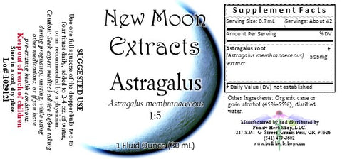 Astragalus Organic Tincture, New Moon Extracts