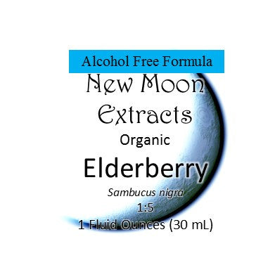 Elderberry Organic Tincture, Alcohol Free Formula (Organic vegetable glycerin) New Moon Extracts