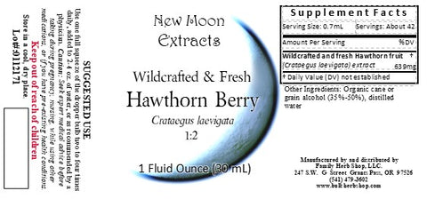 Hawthorn Berry Organic and Fresh Tincture, New Moon Extracts