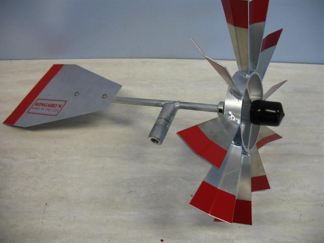 Example of Red Trim wheel and tail Aluminum Windmill top