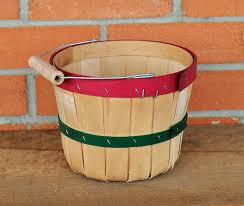 Orchard Peck Basket- Red & Green Stripe w/ handle