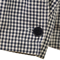 Blue Gingham Check Cotton & Linen Hooded Parka M