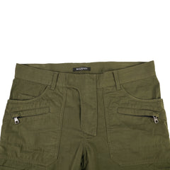 Green Cotton Slim Fit Cargo Pants 32x34