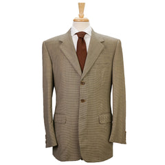 Tan Microhoundstooth Check Super 110s Wool Blazer 42 L