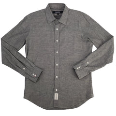 Grey Solid Spread Collar Shirt M