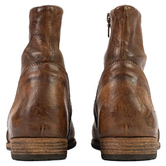 'Paglia' Moto Brown Leather Side-Zip Ankle Boots 8
