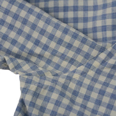 Blue Gingham Check Spread Collar Shirt M