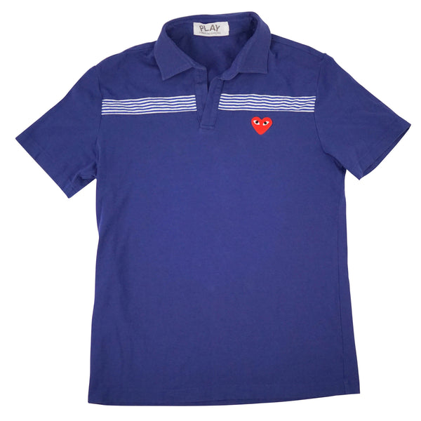 Blue Signature Heart Logo Spread Collar Polo Shirt M