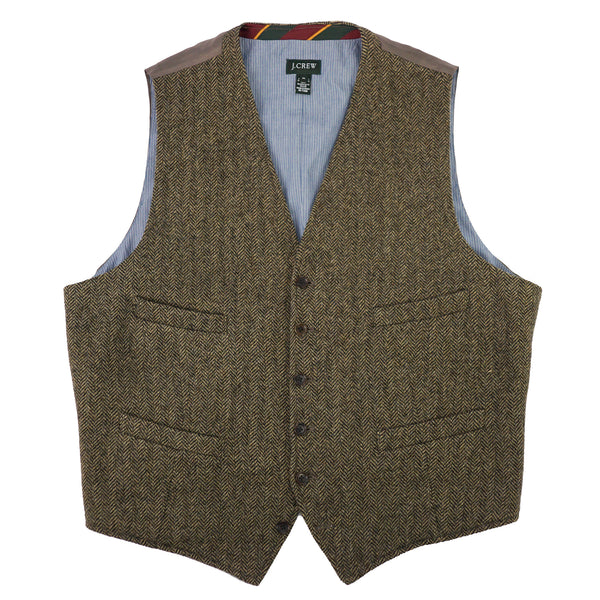 Moon Mills Tweed Brown Herringbone Wool Vest XL