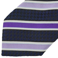 Dark Blue & Purple Striped Houndstooth Multi-Pattern Silk Tie