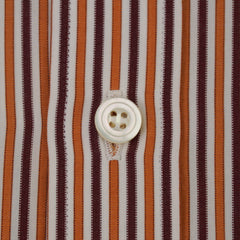 Orange & Burgundy Striped Spread Collar Shirt 17/43
