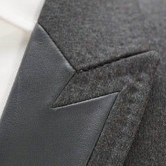 'Martini' Wool & Leather Peak Lapel Blazer 36 R