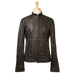 Green Lambskin Leather Moto Jacket S 48