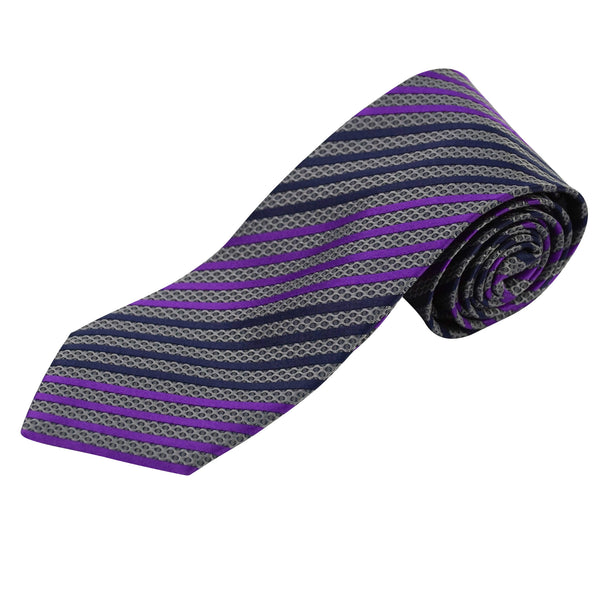 "Blue & Purple Striped 3.25"" Silk Tie"