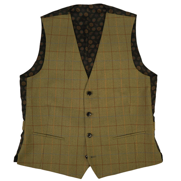 Green Tweed Check Vest M/L