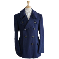 Blue Wool Double Breasted Peacoat S 36