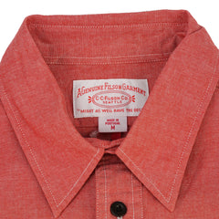 'Cruiser' Red Cotton Chambray Heritage Work Shirt M