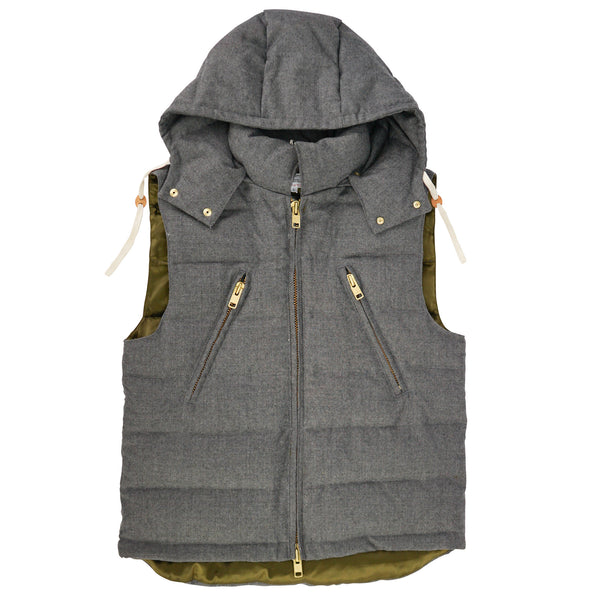 'Puffer Waistcoat' Gray Wool Down Fill Hooded Quilted Vest S