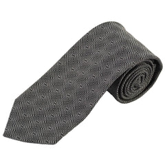 "'G' Signature Logo Black & Silver Patterned Silk 3.25"" Tie"