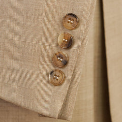 'Hand Tailored' Tan Glenplaid Wool Suit 40 R w/ Hanger