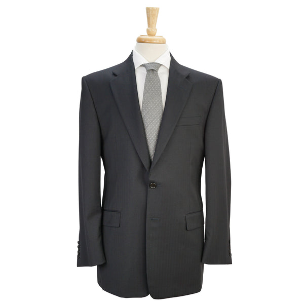 'Madison' Navy Blue Microherringbone Wool Suit 40 R
