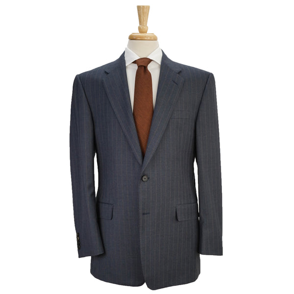 'Madison' Blue Striped Wool Suit 40 R w/ Hanger