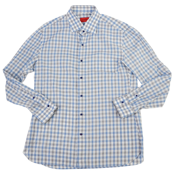 Blue & Gray Plaid Cotton Spread Collar Shirt 17/43