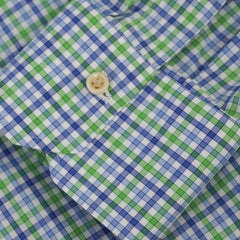 Blue & Green Plaid Cotton Spread Collar Shirt 16.5/42