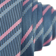 Blue & Pink Striped Multi Fold Silk Tie