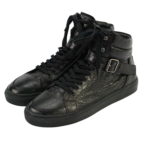 Black Embossed Crocodile Leather High Top Sneakers 9 42
