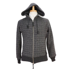 Black & Gray Tweed Wool Zip-Front Hooded Jacket S