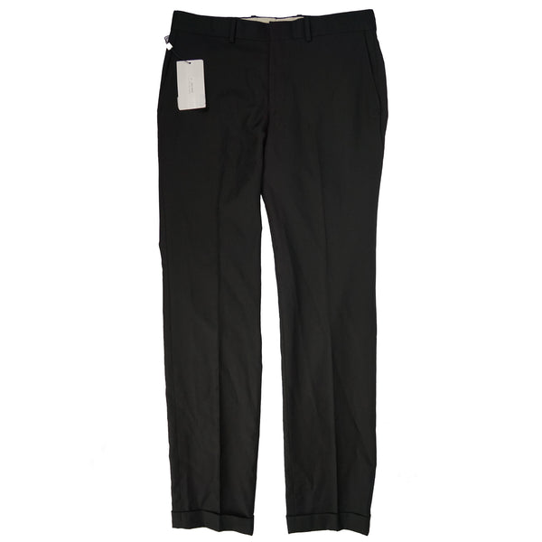 Black Flat Front Wool Slim Fit Trousers 33x32