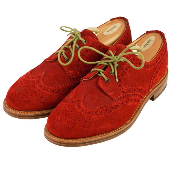 Red English Suede Medallion Brogue Oxfords US 10 UK 9
