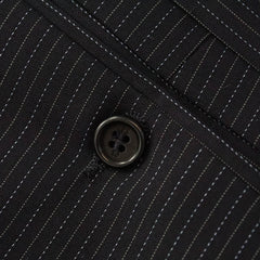 Navy Blue Slim Fit Wool Pinstriped Peak Lapel Suit 38 R