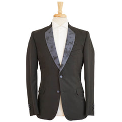 Black Slim Fit Wool Silk Lapel Blazer 38 R