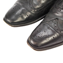 Black Leather Dip Dyed Brogue Wingtip Oxfords US 11 UK 10