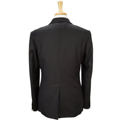 Black Jacquard Super 110s Wool Shawl Lapel Smoking Jacket 44 R
