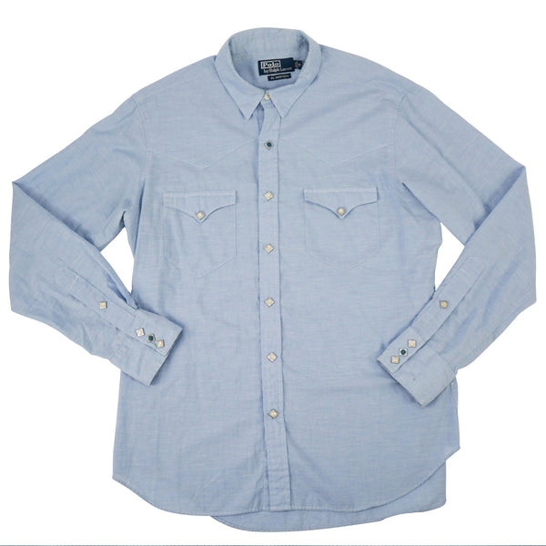 'RL Western' Blue Cotton Turquoise Accent Snap-Front Shirt M