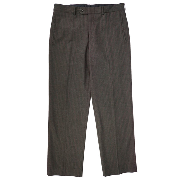 Gray Striped Wool Flat Front Trousers 33x29