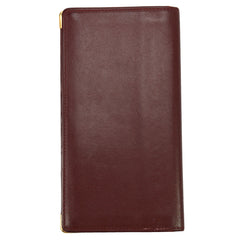 Burgundy Leather Logo Card Wallet Brass Fittings
