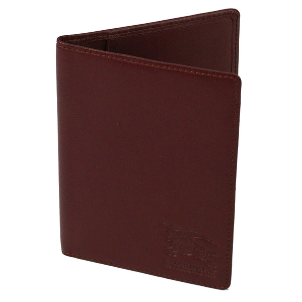 Burgundy Leather Logo Passport Holder Wallet