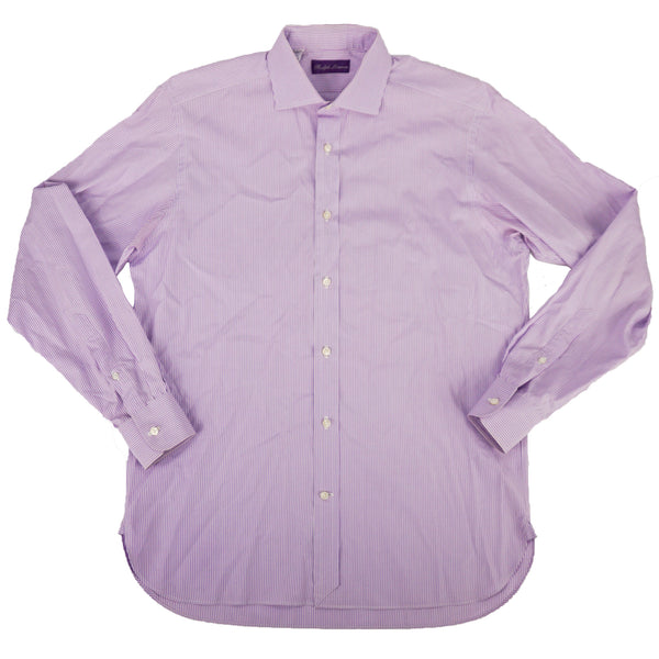 Purple Striped Spread Collar Shirt 15.5/35